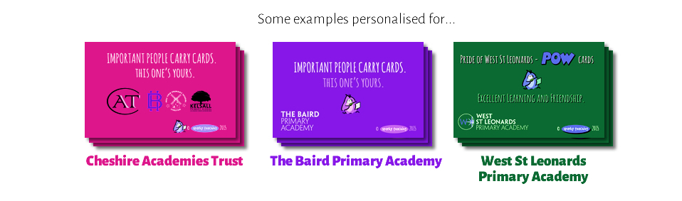 Examples of personalised cards
